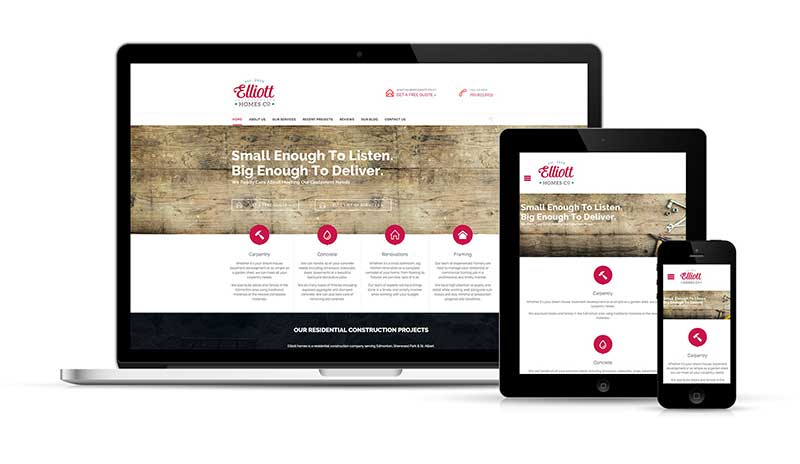 Elliott Homes Website Design